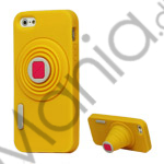 Image of   3D Camera Soft Silikone Stand Case iPhone 5 cover - Gul