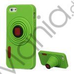 3D Camera Soft Silikone Stand Case iPhone 5 cover - Grøn