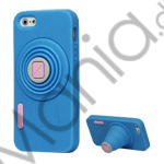 Image of   3D Camera Soft Silikone Stand Case iPhone 5 cover - Blå