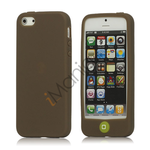Jellybean Home Knap Silikone Case iPhone 5 cover - Kaffe