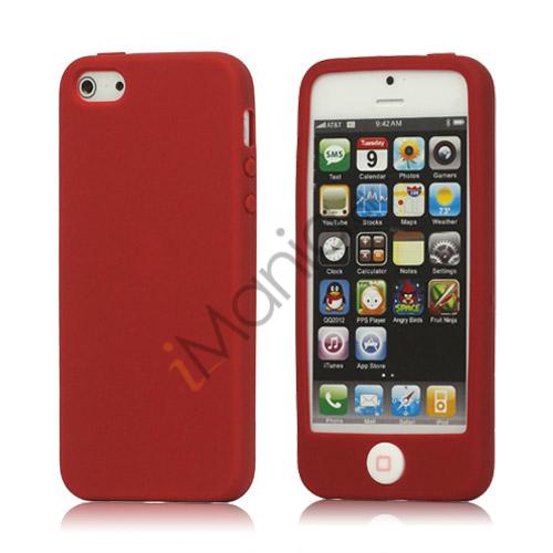 Image of   Jellybean Home Knap Silikone Taske iPhone 5 cover - Rød