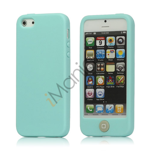Image of   Jellybean Home Knap Jelly Silikone etui til iPhone 5 - Cyan