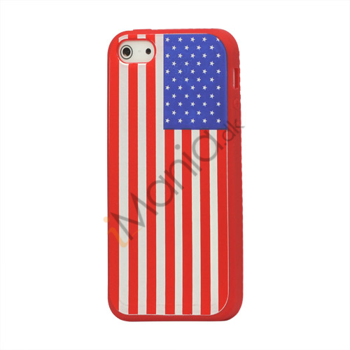 Image of   Amerikansk Flag Silikone Case iPhone 5 cover - Red