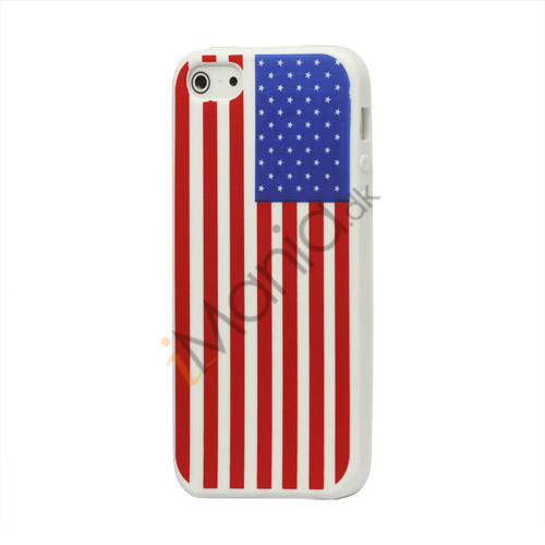 Amerikansk Flag Silikone Case iPhone 5 cover - Hvid