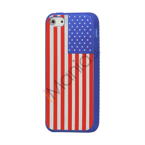 Image of   Amerikansk Flag Silikone Case iPhone 5 cover - Blå