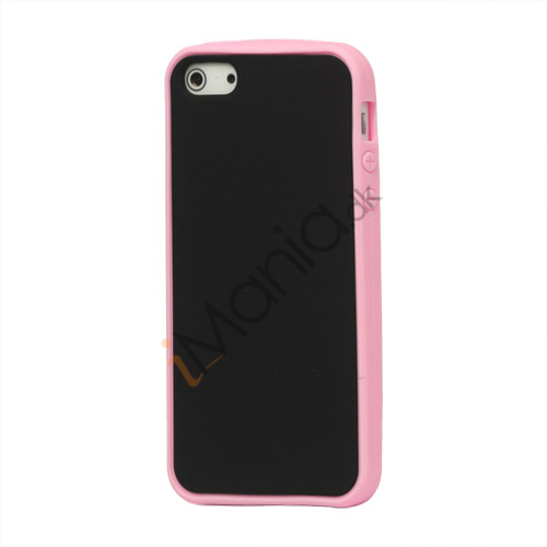 Image of   Two-tone Soft Silikone Case iPhone 5 cover - Pink / Sort