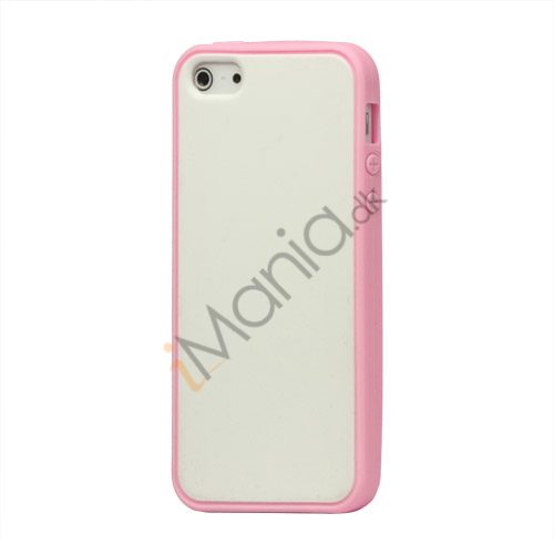Image of   Two-tone Soft Silikone Case iPhone 5 cover - Pink / Hvid