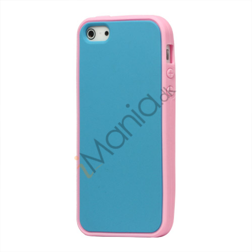 Image of   Two-tone Soft Silikone Case iPhone 5 cover - Pink / Baby Blå