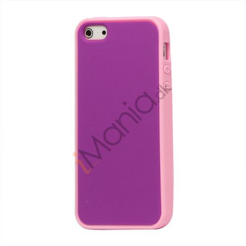 Image of   Two-tone Soft Silikone Case iPhone 5 cover - Pink / Lilla