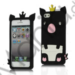 Image of   Sød 3D Crown Pig Silikone Case iPhone 5 cover - Sort