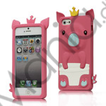 Image of   Sød 3D Crown Pig Silikone Case iPhone 5 cover - Rose