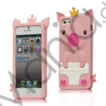 Image of   Sød 3D Crown Pig Silikone Case iPhone 5 cover - Pink