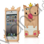 Sød 3D Crown Pig Silikone Case iPhone 5 cover - Laksefarvet