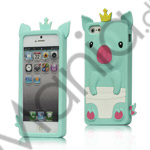 Image of   Sød 3D Crown Pig Silikone Case iPhone 5 cover - Grøn