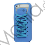 Sporty Snørebånd Silikone Case iPhone 5 cover - Blå