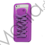 Sporty Snørebånd Silikone Case iPhone 5 cover - Lilla