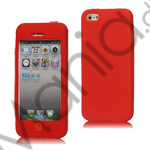 Image of   Mønstret iPhone 5 Silikone Case Shell med Chocolate Home Knap - Red