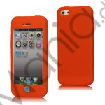 Image of   Mønstret Silikone Case med Chocolate Home Knap til iPhone 5 - Orange