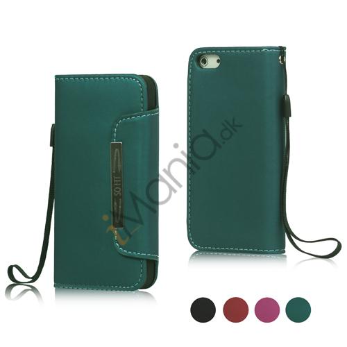 Magnetisk PU Læder Tegnebog Case Cover med Wristlet Strap til iPhone 5