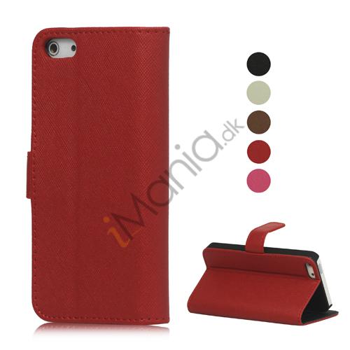 Tegnebog PU læder Flip Stand Case Cover til iPhone 5 med Indvendig Kreditkort Holder