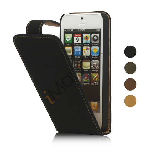 Image of   Lodret Soft PU Leather Flip Case iPhone 5 cover Sort