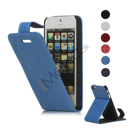 Lodret Crocodile Læder Flip Case Cover med indbygget Stand til iPhone 5