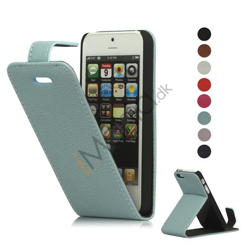 Image of   Lodret Litchi Læder Flip Case Cover med indbygget Stand til iPhone 5