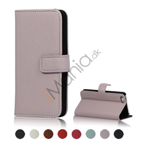 Image of   Magnetisk Litchi Læder Card Slot Tegnebog Case Cover med indbygget Stand til iPhone 5