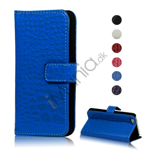 Image of   Magnetisk Crocodile Læder Tegnebog Case Cover med indbygget Stand til iPhone 5
