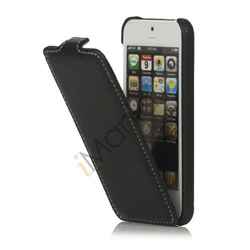 Image of   Slim iPhone 5 Læderetui Cover med hvide stikninger Line