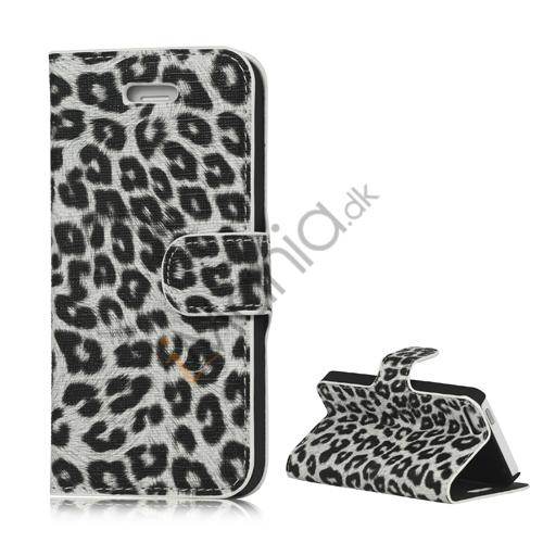 Image of   Leopard Skin Læder Magnetisk Tegnebog Case Cover med Holder til iPhone 5 - Hvid