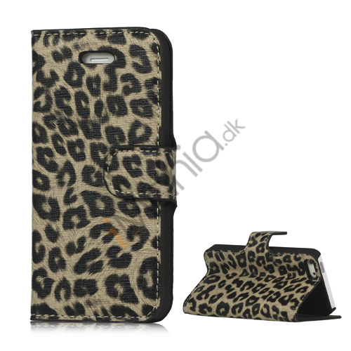 Image of   Leopard Skin Læder Magnetisk Tegnebog Case Cover med Holder til iPhone 5 - Brun