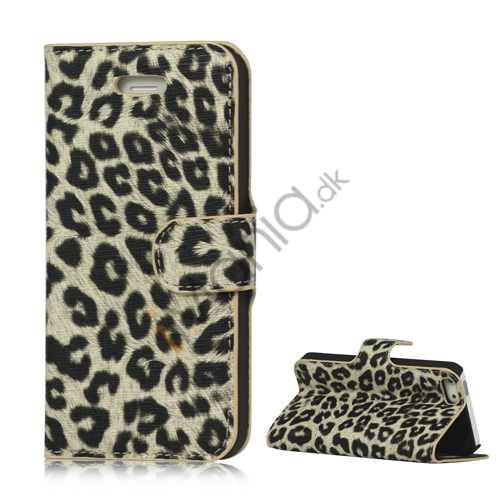 Image of   Leopard Skin Læder Magnetisk Tegnebog Case Cover med Holder til iPhone 5 - Beige