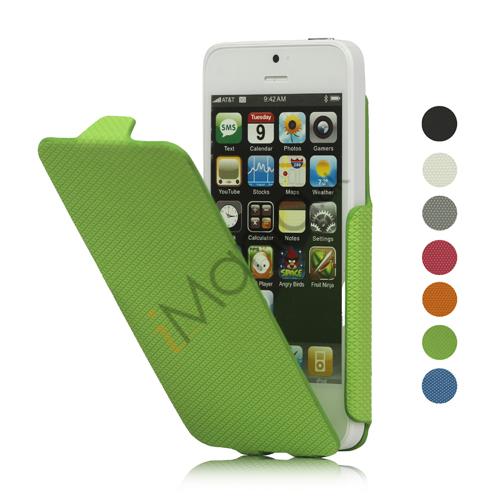 Slim Lodret Mønstret Mesh Læder Flip Case til iPhone 5