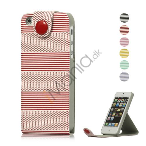 Image of   Vandret Stripe Magnetisk Læder Stand Case Wallet til iPhone 5
