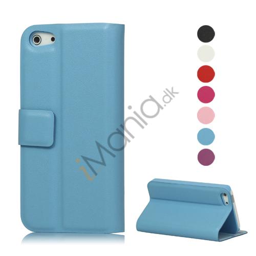 Wallet Style Flip Læder Taske Holder til iPhone 5