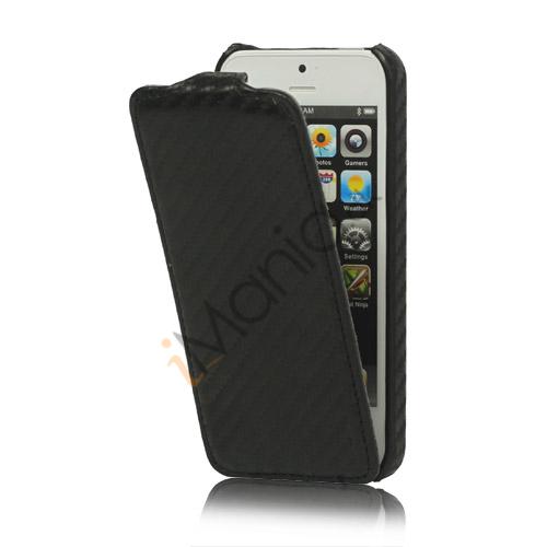 Image of   Slim iPhone 5 Lodret Carbon Fiber Læder Flip Case Cover