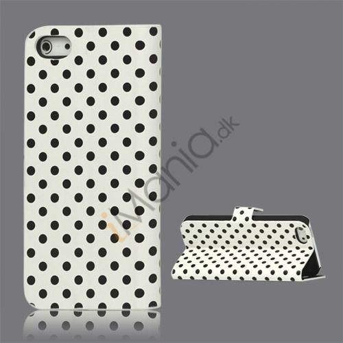 Image of   Polkaprikket Læder Stand Case iPhone 5 cover - Hvid