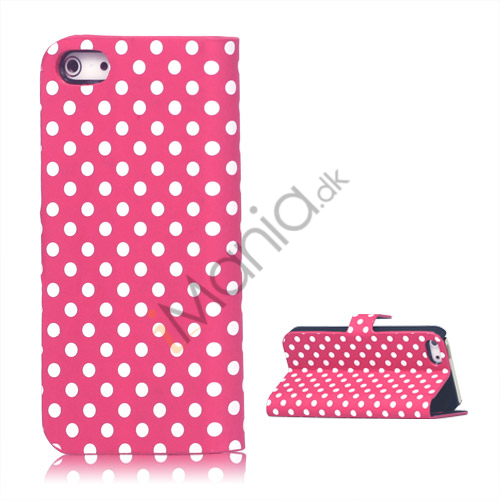 Image of   Polkaprikket Læder Stand Case iPhone 5 cover - Rose