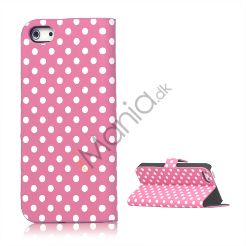 Image of   Polkaprikket Læder Stand Case iPhone 5 cover - Pink