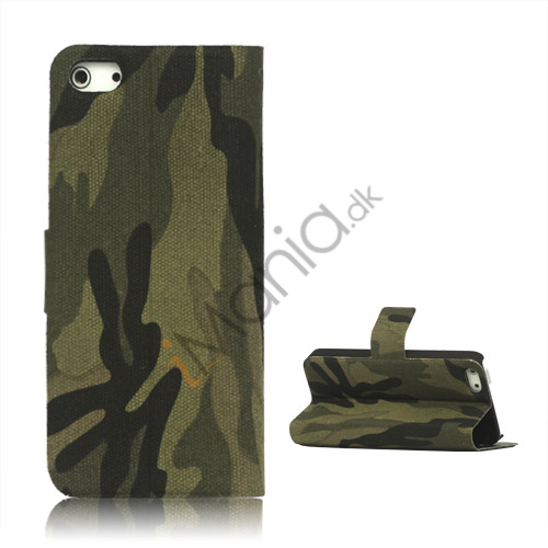 Camouflage Canvas Wallet Case Cover Holder til iPhone 5 - Army Grøn
