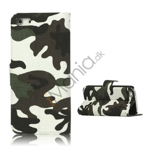 Image of   Camouflage Canvas Wallet Case Cover Holder til iPhone 5 - Grå
