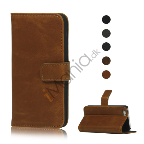 Image of   Magnetisk PU Leather Wallet Case Cover med Holder til iPhone 5