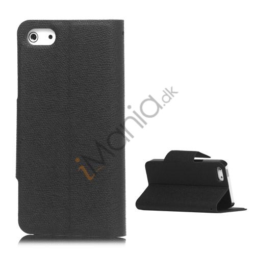 Image of   Magnetisk Mat Læder Kreditkort Wallet Stand Case iPhone 5 cover - Sort