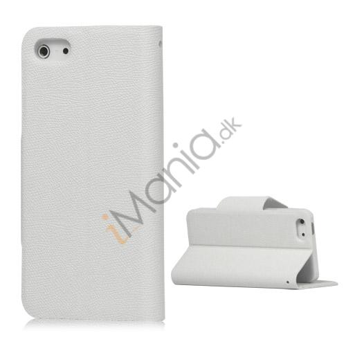 Magnetisk Mat Læder Kreditkort Wallet Stand Case iPhone 5 cover - Hvid