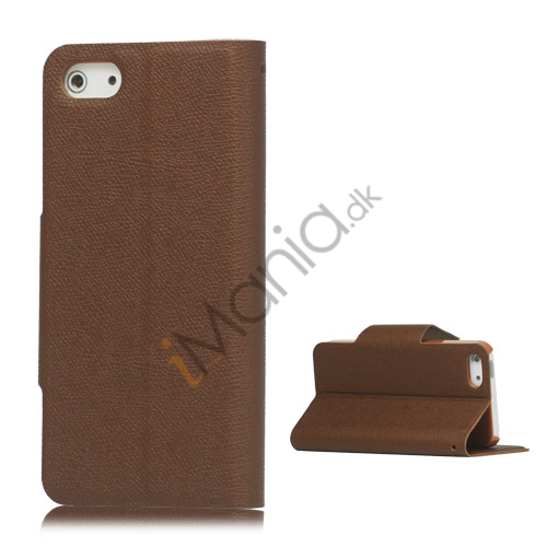 Image of   Magnetisk Mat Læder Kreditkort Wallet Stand Case iPhone 5 cover - Brun