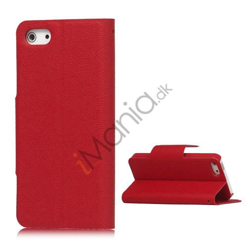 Magnetisk Mat Læder Kreditkort Wallet Stand Case iPhone 5 cover - Rød