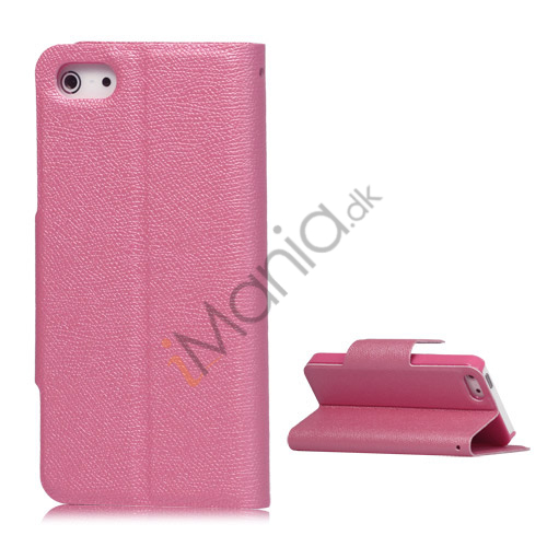 Image of   Magnetisk Mat Læder Kreditkort Wallet Stand Case iPhone 5 cover - Pink