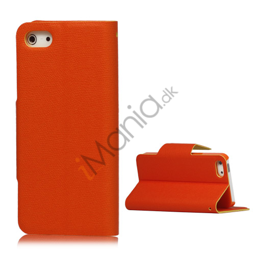 Image of   Magnetisk Mat Læder Kreditkort Wallet Stand Case iPhone 5 cover - Orange