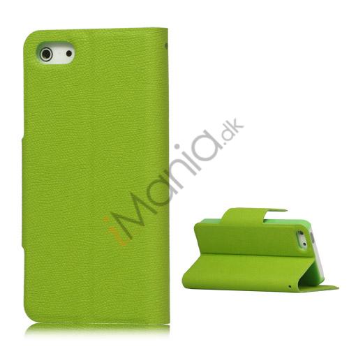 Magnetisk Mat Læder Kreditkort Wallet Stand Case iPhone 5 cover - Grøn